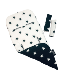 סט לעגלה – כוכבים לבן שחור