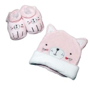 סט כובע ונעלי בית – חתול ורוד