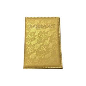 כיסוי דרכון מעוצב – זהב תחרה